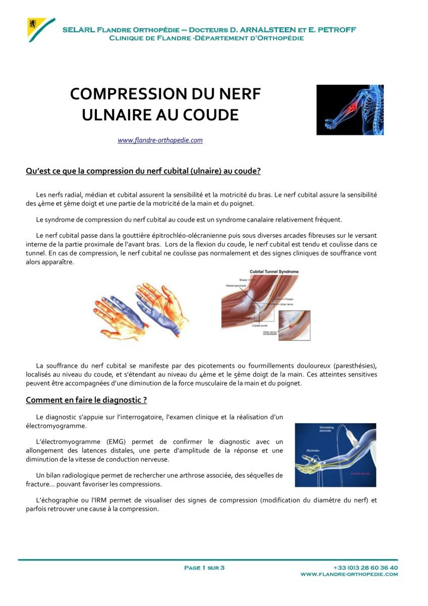 Chirurgie sur Dunkerque, compression du nerf ulnaire au coude